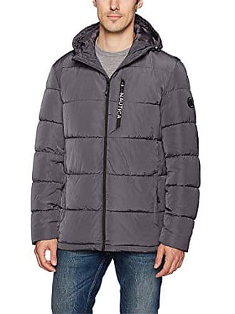 Nautica Mens Quilted Hooded Parka Jacket, Charcoal, S