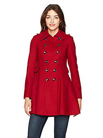 Via Spiga Womens Double Breasted Wool Fit and Flare Skating Coat, VIA RED, 4