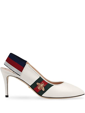 40691b06f Gucci Leather Web mid-heel slingback pump - White