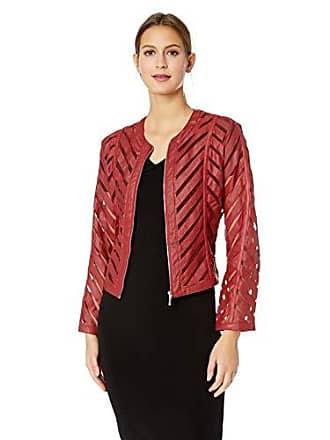 Yoki Womens Faux Leather Mesh Jacket, RED, Medium