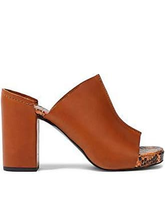 ff5579bfd Robert Clergerie Robert Clergerie Woman Amina Smooth And Snake-effect  Leather Platform Mules Brown Size