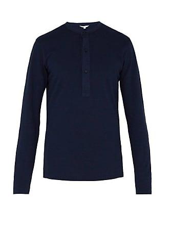 Orlebar Brown Craine Long Sleeved Cotton Henley T Shirt - Mens - Navy