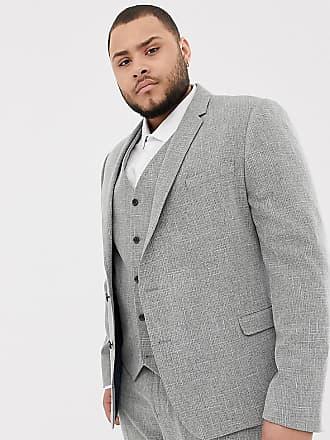 d119fd673a32 Asos Plus - Giacca da abito skinny da matrimonio grigio con tratteggio  incrociato - Beige
