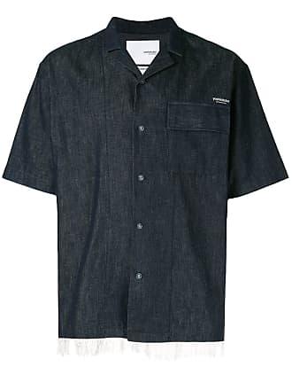Yoshiokubo denim camp collar shirt - Blue