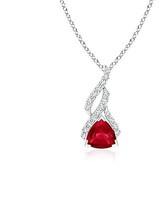 Angara Valentine Day Sale - Trillion Ruby Solitaire Pendant with Diamond Swirl