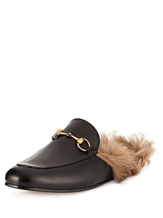 db585be1cc2 Gucci Mens Princetown Fur-Lined Calf Leather Mule Slipper