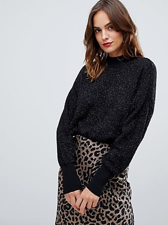 Y.A.S glitter knitted high neck sweater - Black