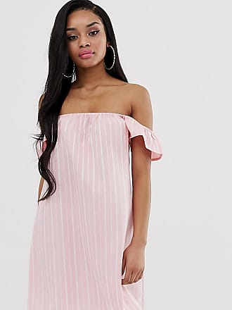 731d85466a7d Missguided Vestito con scollo alla Bardot rosa a righe - Multicolore