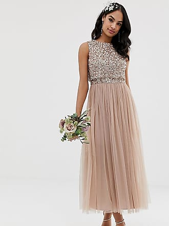 Maya Bridesmaid sleeveless midaxi tulle dress with tonal delicate sequin overlay in taupe blush - Brown