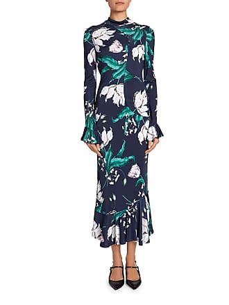 dcb336b6377 Erdem Alta Floral Bell-Sleeve Flounce-Hem Midi Dress