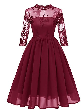 5be1e21434 JERFER Women Fashion Autumn Winter Vintage Princess Floral Cocktail O Neck  Party Aline Swing Dress