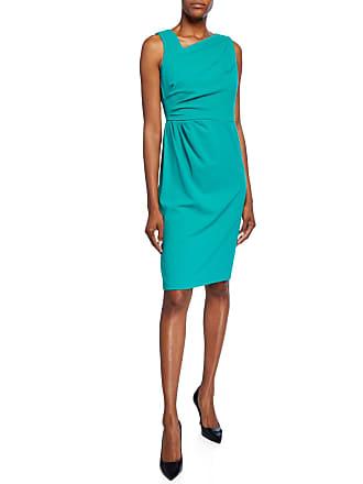 Iconic American Designer Asymmetric-Neck Side Ruched Sheath Dress