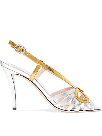 365ca0f73da Gucci Crystal-embellished Metallic Leather Sandals - Silver