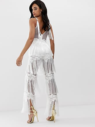 1c18d62b32 Lioness sleeveless allover lace jumpsuit with tassel trims in white - White