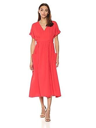 02b8d0def398 Mara Hoffman Womens Ingrid Short Sleeve Wrap Midi Dress, Red Small