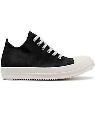 Rick Owens Drkshdw By Rick Owens Woman Low Ramones Leather-trimmed Coated-canvas Sneakers Black Size 39