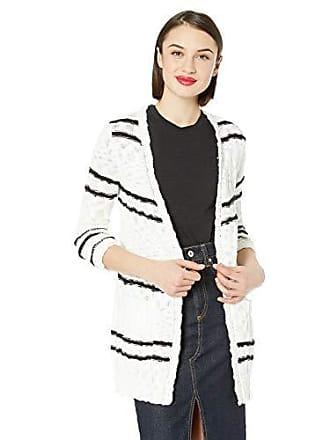 Kensie Womens Slub Knit Striped Cardigan, Ivory Cloud Combo, M