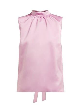 Rochas Gathered Duchess Satin Top - Womens - Pink