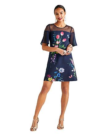 c6ce0496588c7 Yumi Navy Floral Print Short Sleeves Tunic Dress