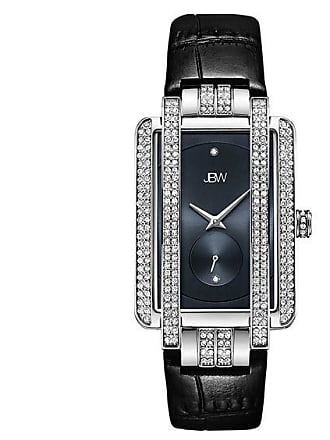 Zales Ladies JBW Mink Diamond Accent and Crystal Strap Watch with Rectangle Blue Dial (Model: J6358L-C)