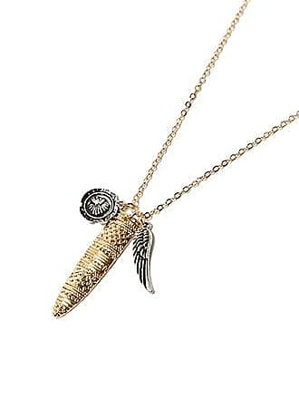 21 Men Men Feather Pendant Necklace at Forever 21 Gold/silver