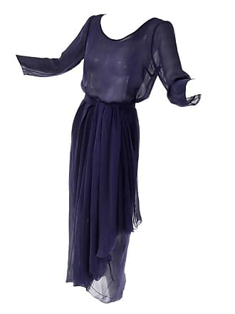 ed1e29a110 Dior Vintage Christian Dior Haute Couture Dress Numbered In Navy Blue Silk  Chiffon Xs