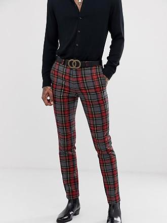 Twisted Tailor Pantaloni da abito super skinny a quadri grandi-Grigio
