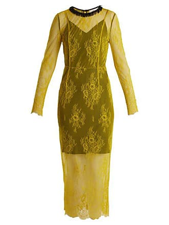 Diane Von Fürstenberg Long Sleeved Bead Embellished Lace Dress - Womens - Yellow