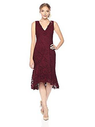 Vera Wang Womens Sleeveless V Neck Lace Cocktail Dress, Burgundy, 10