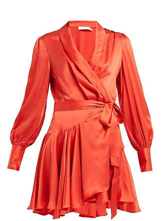 Zimmermann Silk Satin Wrap Dress - Womens - Red