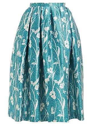 Rochas Floral Print Duchess Satin Pleated Skirt - Womens - Blue Multi