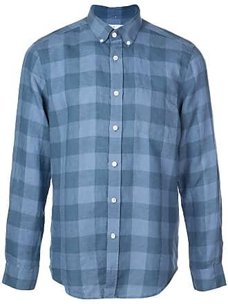 8485556921 Portuguese Flannel Camisa xadrez com abotoamento - Azul
