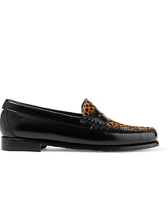 Re/Done + Weejuns The Whitney Glossed-leather And Leopard-print Calf Hair Loafers - Leopard print