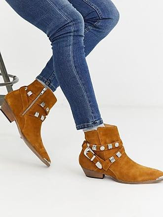 Topman western boot in tan with buckle
