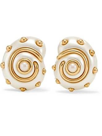 Kenneth Jay Lane Gold-tone Faux Pearl Clip Earrings - White