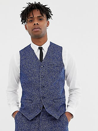 Heart & Dagger skinny fit suit vest in blue dogstooth - Blue