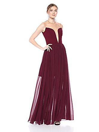 Dress The Population Womens Bridgette Plunging FIT & Flare Solid Flowy Gown, Burgundy, S
