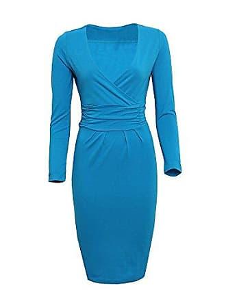 735ef4514497d6 Guiran Damen Kleid Elegant Langarm V Ausschnitt Wickelkleid Bleistiftkleid  Etuikleid Abendkleid Bodycon Knielang Himmelblau XL