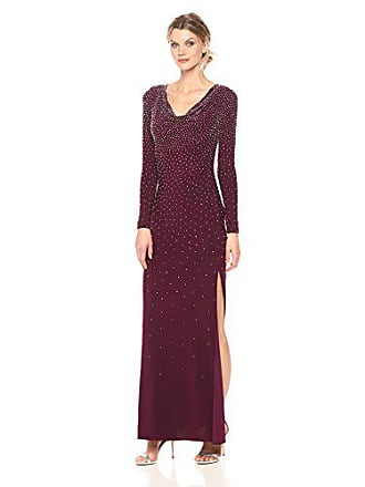 Xscape Womens Long Ity All Over Bead with Drape Front, Wine, 6