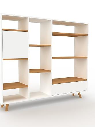 MYCS Bibliothèque - Blanc, design contemporain, avec porte Blanc et tiroir Blanc - 154 x 130 x 35 cm