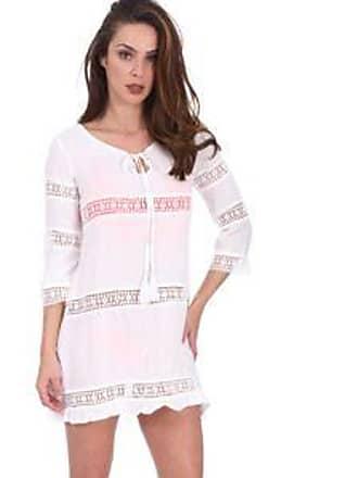 Lola Swimwear Vestido con Cortes Horizontales de Crochet, Borlas en Frente y Olán<br>Hueso