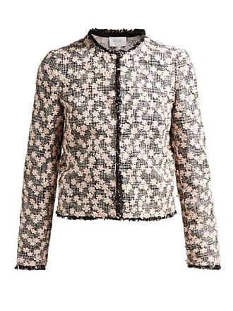Giambattista Valli Floral Appliqué Single Breasted Tweed Jacket - Womens - Black Pink