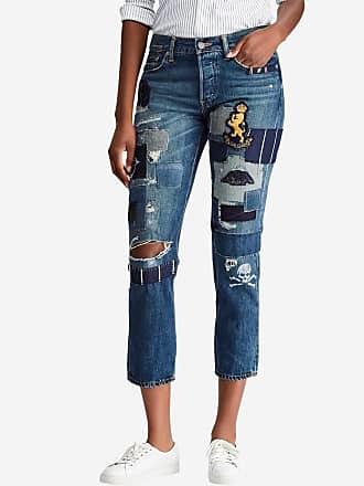 4468ebe638b Polo Ralph Lauren Jean boyfriend crop avec déchirures et patchs Bleu Polo  Ralph Lauren