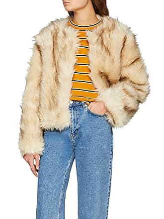 New Look Faye Fluffy Collarless, Blouson Femme, Beige (Cream ), Large ( 8a97436d4a1c