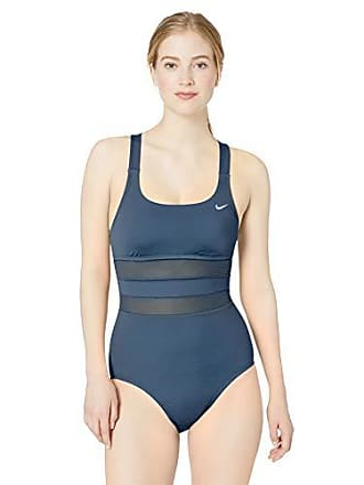 93e08c853 Delivery: free. Nike Swim Womens Mesh Solid Edge V-Back One Piece Swimsuit,  Monsoon Blue,