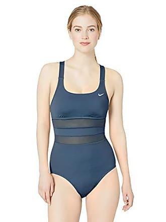 c30b9c37df4b9a Nike Swim Womens Mesh Solid Edge V-Back One Piece Swimsuit, Monsoon Blue,