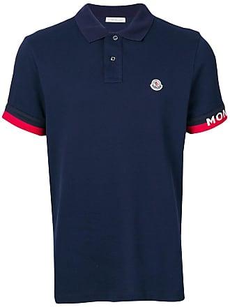 Moncler logo patch polo shirt - Blue