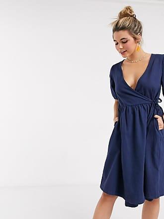 Monki Ramona - Vestito a portafoglio in denim blu scuro