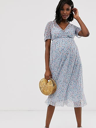 bc75a622d44f4 Asos Maternity ASOS DESIGN Maternity ditsy print midi mesh tea dress with pleated  skirt