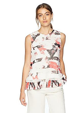 eb68278d82203 Calvin Klein Womens Printed Sleeveless Pleated Back Top